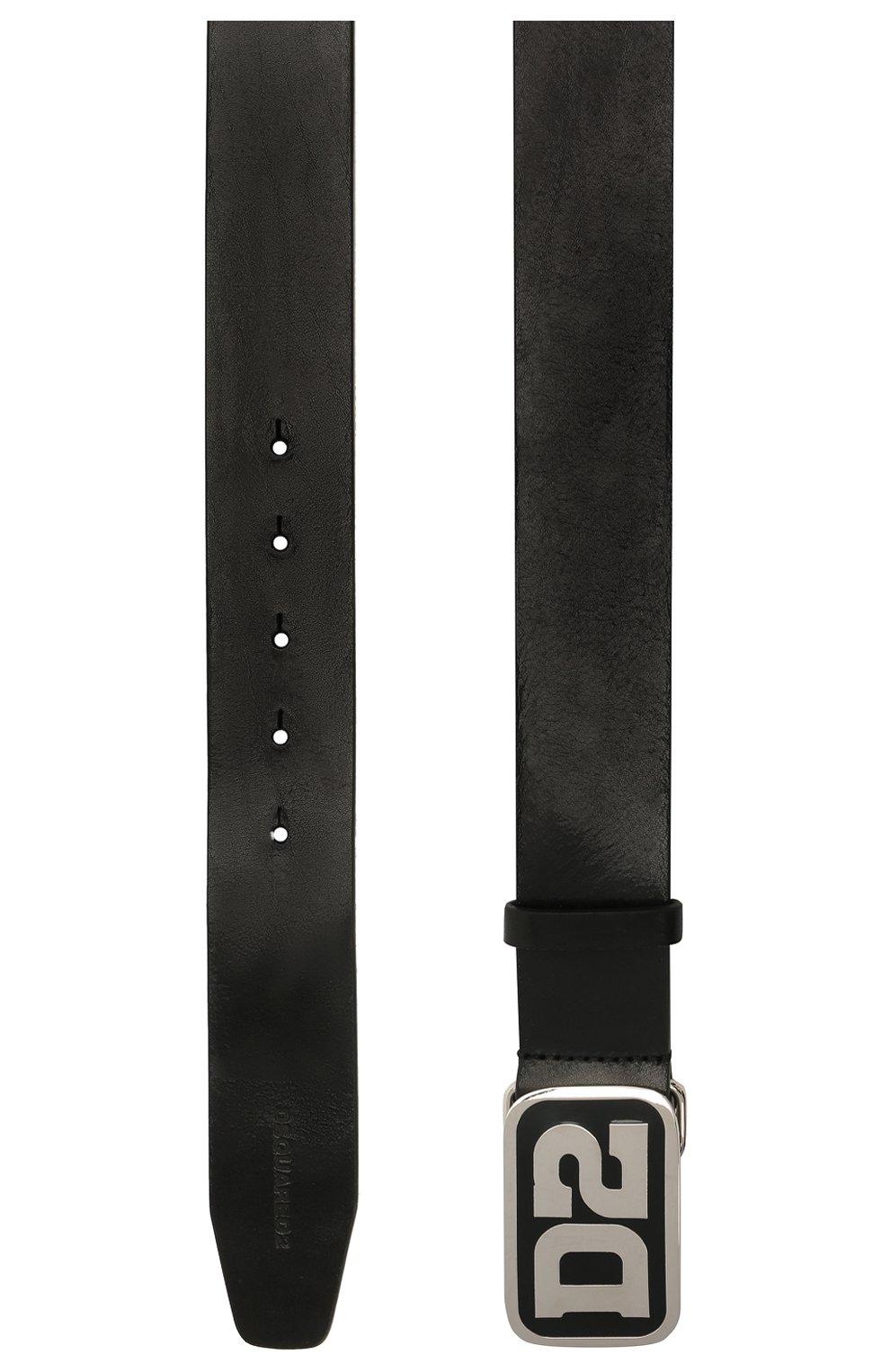 Мужской кожаный ремень DSQUARED2 черного цвета, арт. BEM0388 12900001   Фото 3 (Случай: Повседневный)