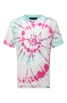 Мужская хлопковая футболка AMIRI разноцветного цвета, арт. MJLT007-349 | Фото 1 (Длина (для топов): Стандартные; Материал внешний: Хлопок; Рукава: Короткие; Принт: С принтом; Стили: Бохо)