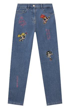 Детские джинсы MONNALISA голубого цвета, арт. 198410R8   Фото 1 (Материал внешний: Хлопок; Кросс-КТ: джинсы; Ростовка одежда: 10 - 11 лет   140 - 146см, 2 года   92 см, 3 года   98 см, 4 года   104 см, 5 лет   110 см, 6 лет   116 см, 7 лет   122 см, 8 лет   128 см)