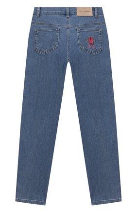 Детские джинсы MONNALISA голубого цвета, арт. 198410R8   Фото 2 (Материал внешний: Хлопок; Кросс-КТ: джинсы; Ростовка одежда: 10 - 11 лет   140 - 146см, 2 года   92 см, 3 года   98 см, 4 года   104 см, 5 лет   110 см, 6 лет   116 см, 7 лет   122 см, 8 лет   128 см)