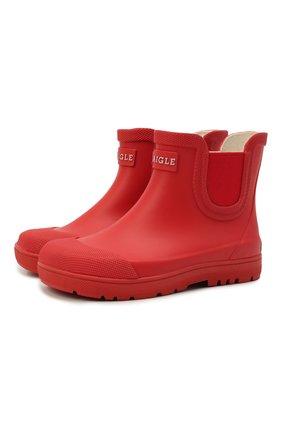 Детские резиновые ботинки AIGLE красного цвета, арт. S01722/CHELSEA 2   Фото 1 (Материал внутренний: Текстиль; Материал внешний: Резина; Кросс-КТ: резиновые)
