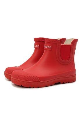 Детские резиновые ботинки AIGLE красного цвета, арт. S01723/CHELSEA 2 | Фото 1 (Материал внутренний: Текстиль; Материал внешний: Резина; Кросс-КТ: резиновые)