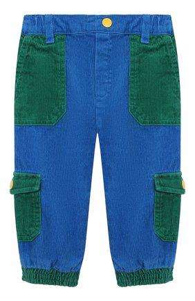 Детские хлопковые брюки STELLA MCCARTNEY синего цвета, арт. 603356/SRK85   Фото 1 (Материал внешний: Хлопок; Ростовка одежда: 9 мес   74 см, 12 мес   80 см, 18 мес   86 см, 24 мес   92 см, 6 мес   68 см)