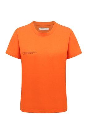 Мужского хлопковая футболка PANGAIA оранжевого цвета, арт. 20JTF11-013-JM001 | Фото 1 (Женское Кросс-КТ: Футболка-одежда; Рукава: Короткие; Длина (для топов): Стандартные; Принт: С принтом; Стили: Спорт-шик)
