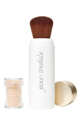 Защитная пудра с кистью powder-me spf30 refillable brush, nude JANE IREDALE бесцветного цвета, арт. 670959114099   Фото 1
