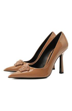 Женские кожаные туфли VERSACE светло-коричневого цвета, арт. DST6250/D2VE   Фото 1 (Каблук высота: Высокий; Подошва: Плоская; Материал внутренний: Натуральная кожа; Каблук тип: Шпилька)