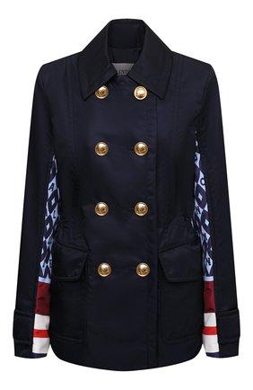 Женская куртка VALENTINO синего цвета, арт. WB3CJ2156JL   Фото 1 (Материал внешний: Синтетический материал; Рукава: Длинные; Длина (верхняя одежда): Короткие; Материал подклада: Синтетический материал; Стили: Гламурный; Кросс-КТ: Куртка)
