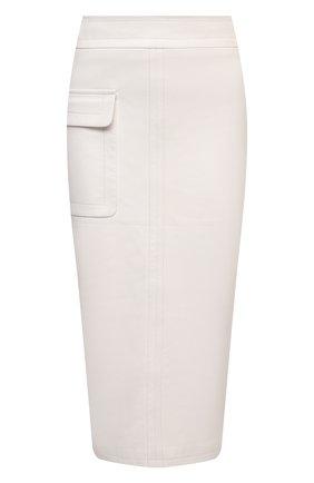 Женская кожаная юбка TOM FORD белого цвета, арт. GCL829-LEX228 | Фото 1 (Материал подклада: Шелк; Стили: Гламурный; Женское Кросс-КТ: Замша и кожа, Юбка-одежда, Юбка-карандаш; Длина Ж (юбки, платья, шорты): Миди)