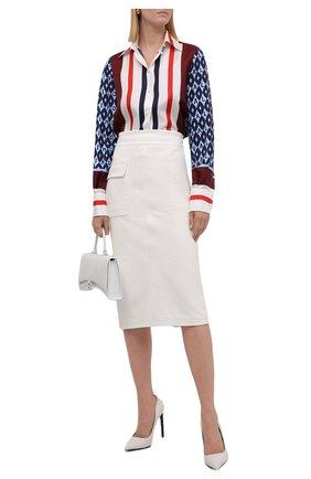 Женская кожаная юбка TOM FORD белого цвета, арт. GCL829-LEX228 | Фото 2 (Материал подклада: Шелк; Стили: Гламурный; Женское Кросс-КТ: Замша и кожа, Юбка-одежда, Юбка-карандаш; Длина Ж (юбки, платья, шорты): Миди)