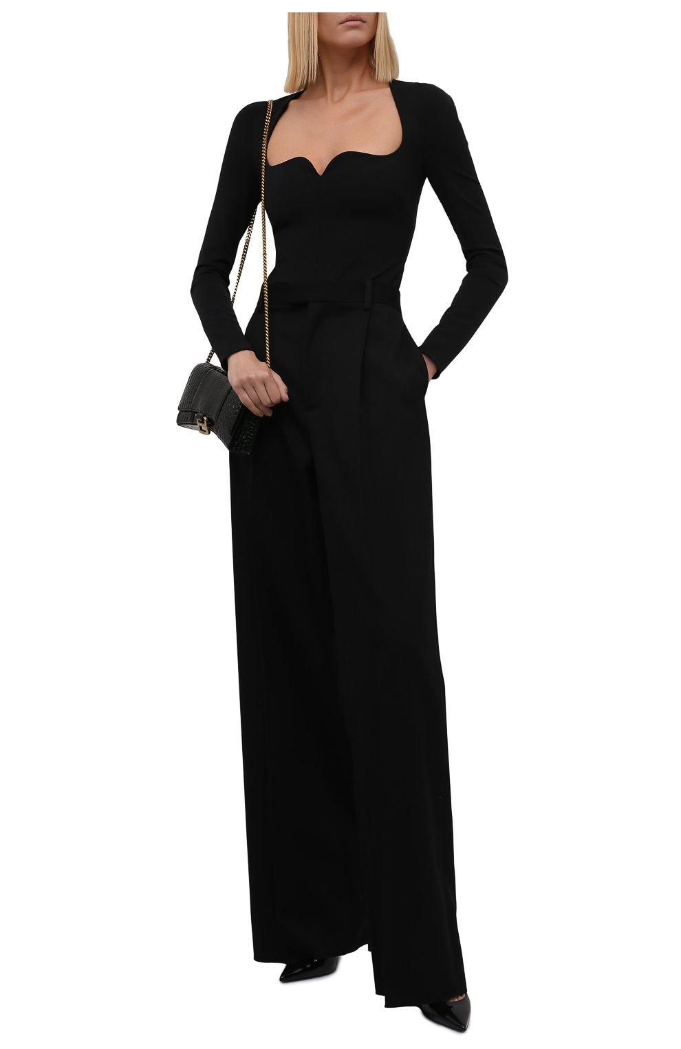 Женское боди VERSACE черного цвета, арт. 1001988/1A00572 | Фото 2 (Рукава: Длинные; Стили: Гламурный; Материал подклада: Синтетический материал; Материал внешний: Вискоза; Женское Кросс-КТ: Боди-одежда)