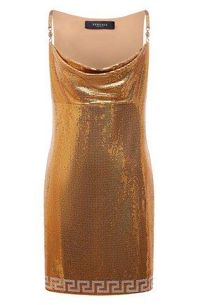 Женское платье VERSACE золотого цвета, арт. 1000970/1A00983   Фото 1 (Материал внешний: Синтетический материал; Длина Ж (юбки, платья, шорты): Мини; Материал подклада: Синтетический материал; Стили: Гламурный; Случай: Вечерний; Женское Кросс-КТ: Платье-одежда)