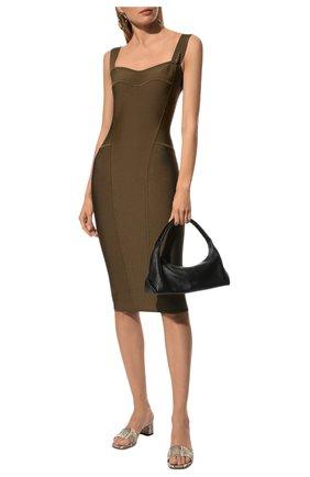 Женское платье из вискозы VERSACE хаки цвета, арт. 1000756/1A00580   Фото 2 (Материал внешний: Вискоза; Длина Ж (юбки, платья, шорты): До колена; Кросс-КТ: Трикотаж; Стили: Гламурный; Случай: Формальный; Женское Кросс-КТ: Платье-одежда, Сарафаны)