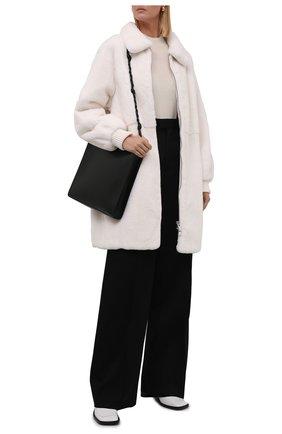 Женская шуба из меха норки KITON белого цвета, арт. D52683X05S08   Фото 2 (Длина (верхняя одежда): До середины бедра; Рукава: Длинные; Материал подклада: Шелк; Стили: Кэжуэл; Женское Кросс-КТ: Мех)
