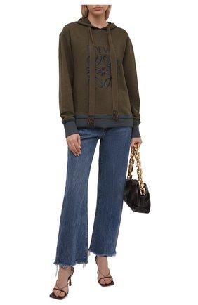 Женский хлопковое худи LOEWE хаки цвета, арт. S359341XAQ | Фото 2 (Длина (для топов): Стандартные; Рукава: Длинные; Материал внешний: Хлопок; Стили: Спорт-шик; Женское Кросс-КТ: Худи-одежда)