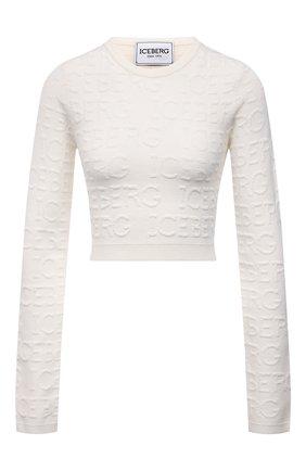 Женский пуловер из вискозы и хлопка ICEBERG кремвого цвета, арт. 21I I2P0/A021/7089 | Фото 1 (Длина (для топов): Укороченные; Материал внешний: Вискоза, Хлопок; Рукава: Длинные; Кросс-КТ: Трикотаж; Стили: Спорт-шик; Женское Кросс-КТ: Пуловер-одежда)