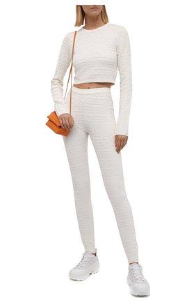 Женский пуловер из вискозы и хлопка ICEBERG кремвого цвета, арт. 21I I2P0/A021/7089 | Фото 2 (Длина (для топов): Укороченные; Материал внешний: Вискоза, Хлопок; Рукава: Длинные; Кросс-КТ: Трикотаж; Стили: Спорт-шик; Женское Кросс-КТ: Пуловер-одежда)