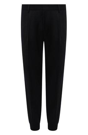 Мужские шерстяные джоггеры HUGO черного цвета, арт. 50457227 | Фото 1 (Материал внешний: Шерсть; Длина (брюки, джинсы): Стандартные; Силуэт М (брюки): Джоггеры; Стили: Кэжуэл)