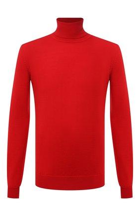 Мужской шерстяная водолазка HUGO красного цвета, арт. 50455988   Фото 1 (Материал внешний: Шерсть; Рукава: Длинные; Длина (для топов): Стандартные; Мужское Кросс-КТ: Водолазка-одежда; Принт: Без принта; Стили: Кэжуэл)