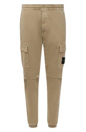 Мужские хлопковые джоггеры STONE ISLAND бежевого цвета, арт. 7515313L1   Фото 1 (Материал внешний: Хлопок; Силуэт М (брюки): Джоггеры, Карго; Стили: Кэжуэл; Длина (брюки, джинсы): Стандартные)