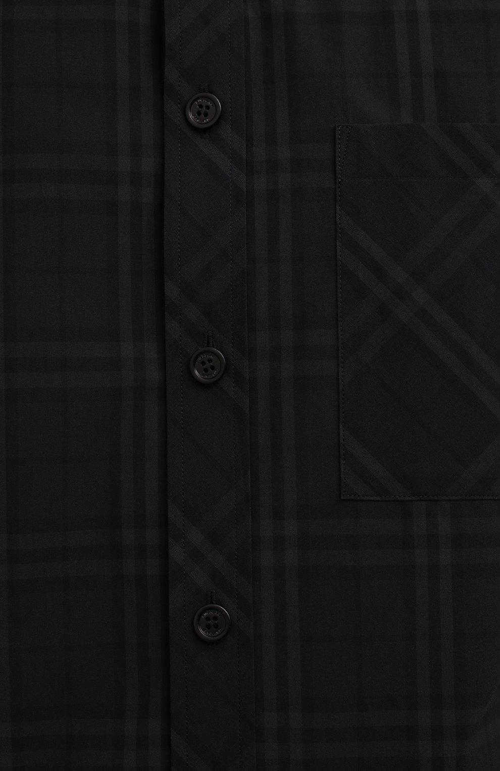 Мужская хлопковая рубашка BURBERRY темно-серого цвета, арт. 8041516 | Фото 5 (Манжеты: На пуговицах; Воротник: Button down; Принт: Клетка; Рукава: Длинные; Случай: Повседневный; Длина (для топов): Стандартные; Материал внешний: Хлопок; Стили: Кэжуэл)