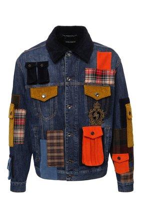 Мужская джинсовая куртка DOLCE & GABBANA синего цвета, арт. G9UX2Z/G8EJ4   Фото 1 (Рукава: Длинные; Материал внешний: Хлопок; Длина (верхняя одежда): Короткие; Материал подклада: Шелк; Кросс-КТ: Куртка, Деним; Стили: Бохо)