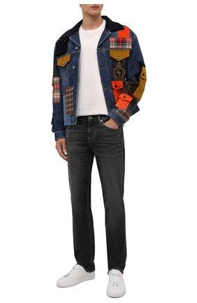 Мужская джинсовая куртка DOLCE & GABBANA синего цвета, арт. G9UX2Z/G8EJ4   Фото 2 (Рукава: Длинные; Материал внешний: Хлопок; Длина (верхняя одежда): Короткие; Материал подклада: Шелк; Кросс-КТ: Куртка, Деним; Стили: Бохо)
