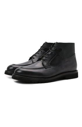 Мужские кожаные ботинки BARRETT темно-серого цвета, арт. 192U026.15/BETIS CREAM | Фото 1 (Подошва: Плоская; Материал внутренний: Натуральная кожа; Мужское Кросс-КТ: Ботинки-обувь)