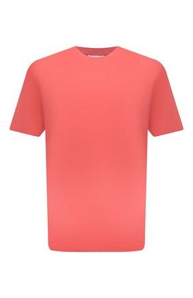 Мужская хлопковая футболка ACNE STUDIOS кораллового цвета, арт. BL0230   Фото 1 (Материал внешний: Хлопок; Принт: Без принта; Рукава: Короткие; Стили: Минимализм; Длина (для топов): Стандартные)