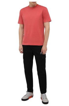 Мужская хлопковая футболка ACNE STUDIOS кораллового цвета, арт. BL0230   Фото 2 (Материал внешний: Хлопок; Принт: Без принта; Рукава: Короткие; Стили: Минимализм; Длина (для топов): Стандартные)