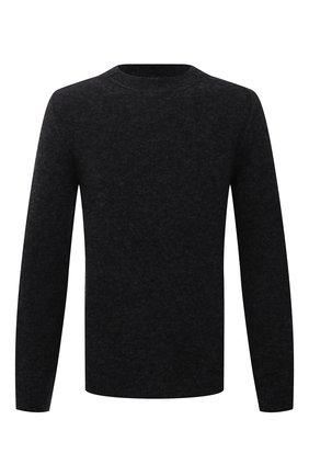 Мужской свитер из шерсти и вискозы TRANSIT темно-серого цвета, арт. CFUTRP21560 | Фото 1 (Длина (для топов): Стандартные; Рукава: Длинные; Материал внешний: Шерсть; Мужское Кросс-КТ: Свитер-одежда; Принт: Без принта; Стили: Кэжуэл)
