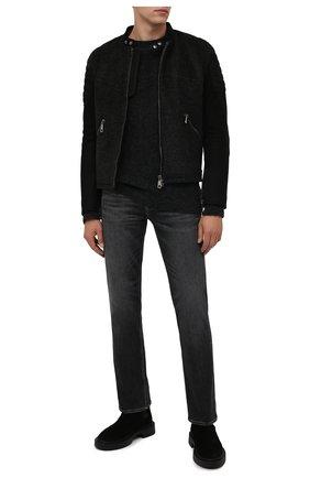 Мужской свитер из шерсти и вискозы TRANSIT темно-серого цвета, арт. CFUTRP21560 | Фото 2 (Длина (для топов): Стандартные; Рукава: Длинные; Материал внешний: Шерсть; Мужское Кросс-КТ: Свитер-одежда; Принт: Без принта; Стили: Кэжуэл)