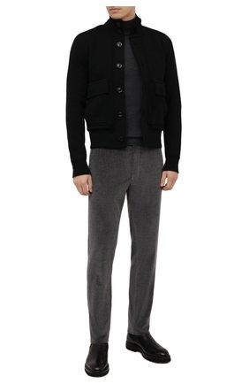 Мужские брюки из хлопка и кашемира GIORGIO ARMANI серого цвета, арт. 1SGPP0I0/T02VD | Фото 2 (Длина (брюки, джинсы): Стандартные; Материал внешний: Хлопок; Материал подклада: Купро; Случай: Повседневный; Стили: Кэжуэл)