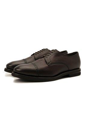 Мужские кожаные дерби H`D`S`N BARACCO темно-коричневого цвета, арт. 80222.M.0* | Фото 1 (Материал утеплителя: Натуральный мех; Стили: Классический; Мужское Кросс-КТ: Броги-обувь)