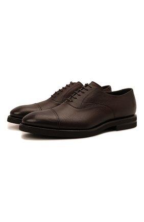 Мужские кожаные оксфорды H`D`S`N BARACCO темно-коричневого цвета, арт. 80302.0* | Фото 1 (Материал внутренний: Натуральная кожа; Стили: Классический)