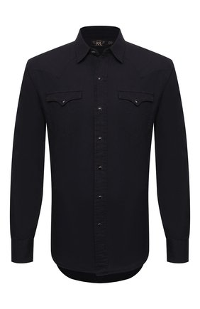 Мужская хлопковая рубашка RRL черного цвета, арт. 782775535 | Фото 1 (Рукава: Длинные; Длина (для топов): Стандартные; Материал внешний: Хлопок; Случай: Повседневный; Принт: Однотонные; Манжеты: На пуговицах; Стили: Кэжуэл; Воротник: Кент)