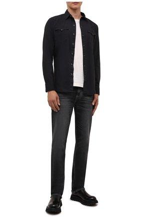 Мужская хлопковая рубашка RRL черного цвета, арт. 782775535 | Фото 2 (Рукава: Длинные; Длина (для топов): Стандартные; Материал внешний: Хлопок; Случай: Повседневный; Принт: Однотонные; Манжеты: На пуговицах; Стили: Кэжуэл; Воротник: Кент)