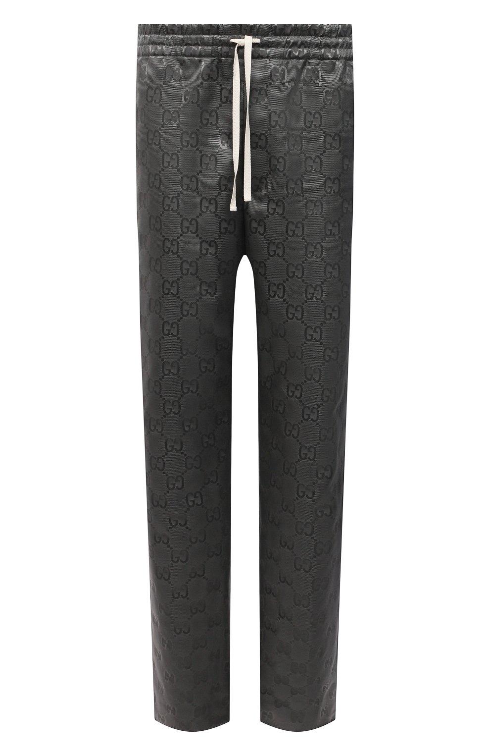 Мужские брюки GUCCI темно-серого цвета, арт. 656671/ZAEBN | Фото 1 (Стили: Ретро; Длина (брюки, джинсы): Стандартные; Случай: Повседневный; Материал внешний: Синтетический материал)