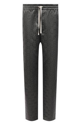 Мужские брюки GUCCI темно-серого цвета, арт. 656671/ZAEBN | Фото 1 (Длина (брюки, джинсы): Стандартные; Материал внешний: Синтетический материал; Случай: Повседневный; Стили: Ретро)