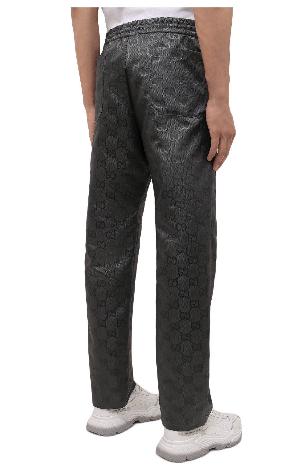 Мужские брюки GUCCI темно-серого цвета, арт. 656671/ZAEBN | Фото 4 (Стили: Ретро; Длина (брюки, джинсы): Стандартные; Случай: Повседневный; Материал внешний: Синтетический материал)