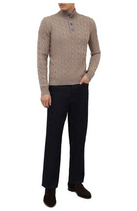 Мужской кашемировый свитер ANDREA CAMPAGNA светло-бежевого цвета, арт. 23151/15572 | Фото 2 (Материал внешний: Шерсть, Кашемир; Мужское Кросс-КТ: Свитер-одежда; Принт: Без принта; Стили: Кэжуэл; Рукава: Длинные; Длина (для топов): Стандартные)