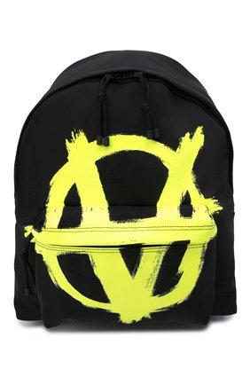 Мужской текстильный рюкзак VETEMENTS черного цвета, арт. UA52BA640Y 1302/M   Фото 1 (Материал: Текстиль; Ремень/цепочка: На ремешке)