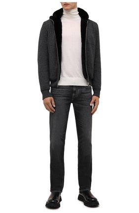Мужской кашемировый бомбер с меховой подкладкой SVEVO темно-серого цвета, арт. 01039SA21/MP01/2 | Фото 2 (Рукава: Длинные; Материал внешний: Кашемир, Шерсть; Стили: Кэжуэл; Кросс-КТ: Куртка; Длина (верхняя одежда): Короткие; Принт: Без принта; Мужское Кросс-КТ: шерсть и кашемир, утепленные куртки)