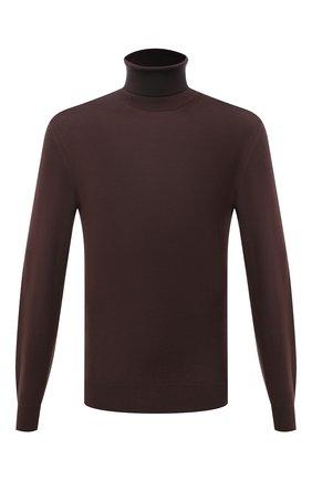 Мужской шерстяная водолазка ZEGNA COUTURE коричневого цвета, арт. CYM01/120 | Фото 1 (Материал внешний: Шерсть; Длина (для топов): Стандартные; Рукава: Длинные; Мужское Кросс-КТ: Водолазка-одежда; Принт: Без принта; Стили: Кэжуэл)