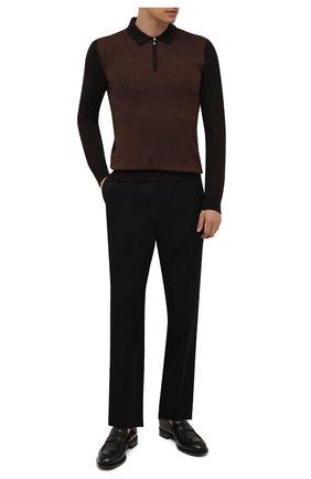 Мужское шерстяное поло CORNELIANI коричневого цвета, арт. 88M509-1825151/00 | Фото 2 (Материал внешний: Шерсть; Застежка: Молния; Кросс-КТ: Трикотаж; Рукава: Длинные; Стили: Кэжуэл; Длина (для топов): Стандартные)