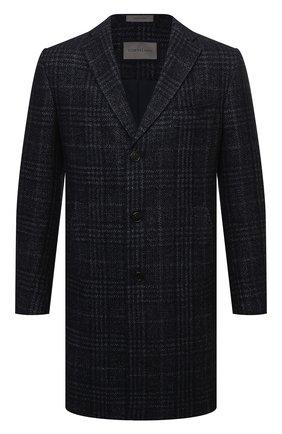Мужской пальто из шерсти и шелка CORNELIANI темно-синего цвета, арт. 881562-1812100/00 | Фото 1 (Рукава: Длинные; Материал подклада: Синтетический материал; Длина (верхняя одежда): До середины бедра; Материал внешний: Шерсть; Мужское Кросс-КТ: пальто-верхняя одежда; Стили: Классический)