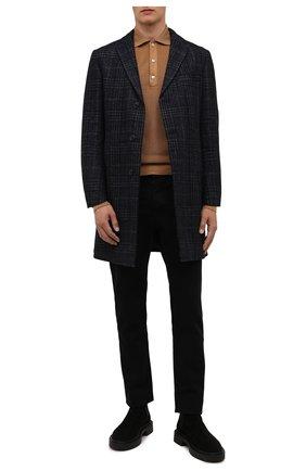 Мужской пальто из шерсти и шелка CORNELIANI темно-синего цвета, арт. 881562-1812100/00 | Фото 2 (Рукава: Длинные; Материал подклада: Синтетический материал; Длина (верхняя одежда): До середины бедра; Материал внешний: Шерсть; Мужское Кросс-КТ: пальто-верхняя одежда; Стили: Классический)