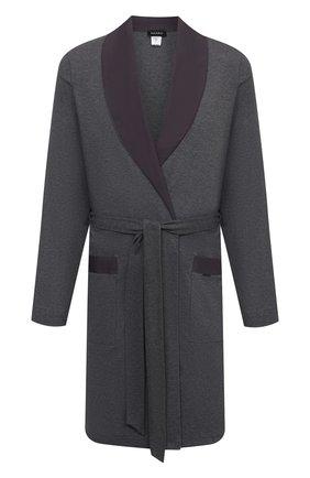 Мужской хлопковый халат HANRO темно-серого цвета, арт. 075135 | Фото 1 (Материал внешний: Хлопок; Кросс-КТ: домашняя одежда; Длина (верхняя одежда): Длинные; Рукава: Длинные)