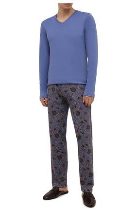 Мужская хлопковая пижама HANRO синего цвета, арт. 075462 | Фото 1 (Материал внешний: Хлопок; Длина (брюки, джинсы): Стандартные; Рукава: Длинные; Длина (для топов): Стандартные; Кросс-КТ: домашняя одежда)
