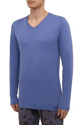 Мужская хлопковая пижама HANRO синего цвета, арт. 075462 | Фото 2 (Материал внешний: Хлопок; Длина (брюки, джинсы): Стандартные; Рукава: Длинные; Длина (для топов): Стандартные; Кросс-КТ: домашняя одежда)