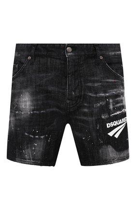 Мужские джинсовые шорты DSQUARED2 темно-серого цвета, арт. S74MU0675/S30357 | Фото 1 (Длина Шорты М: До колена; Материал внешний: Хлопок; Кросс-КТ: Деним; Принт: С принтом; Стили: Гранж)